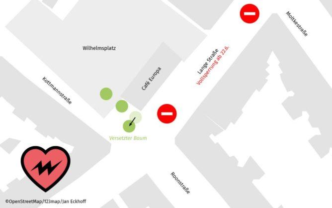 Karte der Wilhelmsplatzes, Sperrung und geplanter Standort des Baumes sind eingezeichnet