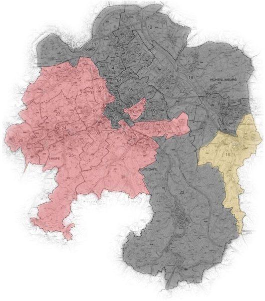 Karte der Hagener Wahlbezirke, eingefärbt nach stärkster Partei.