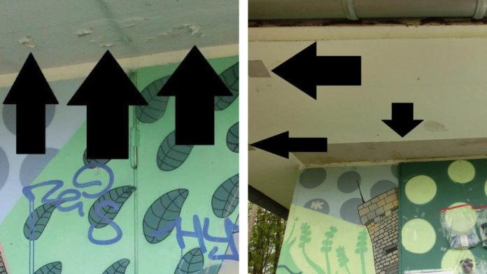 Die Decke am Turm-Kiosk vor und nach der Sanierung
