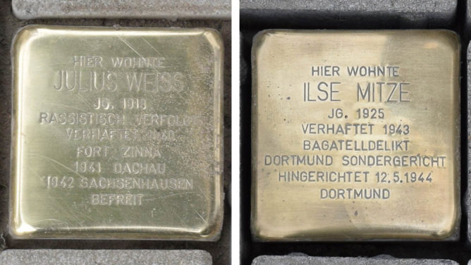 Stolpersteine für Julius Weiß und Ilse Mitze