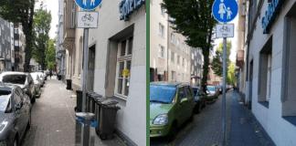 Mit und ohne Mülleimer: Radweg an der Augustastraße.